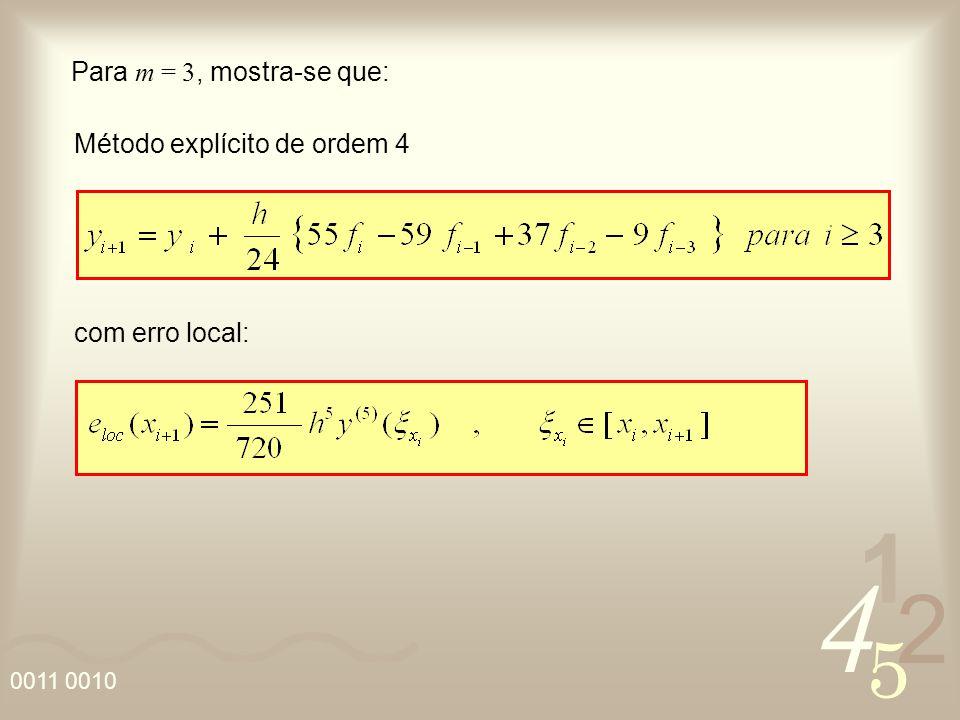 4 2 5 1 0011 0010 Para m = 3, mostra-se que: com erro local: Método explícito de ordem 4