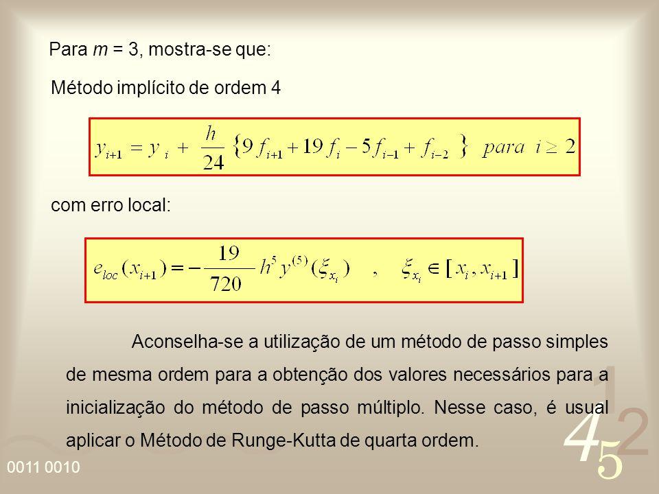 4 2 5 1 0011 0010 Para m = 3, mostra-se que: com erro local: Método implícito de ordem 4 Aconselha-se a utilização de um método de passo simples de me