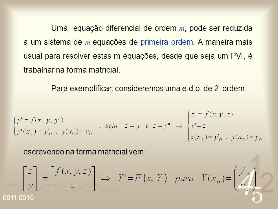 4 2 5 1 0011 0010 Uma equação diferencial de ordem m, pode ser reduzida a um sistema de m equações de primeira ordem. A maneira mais usual para resolv