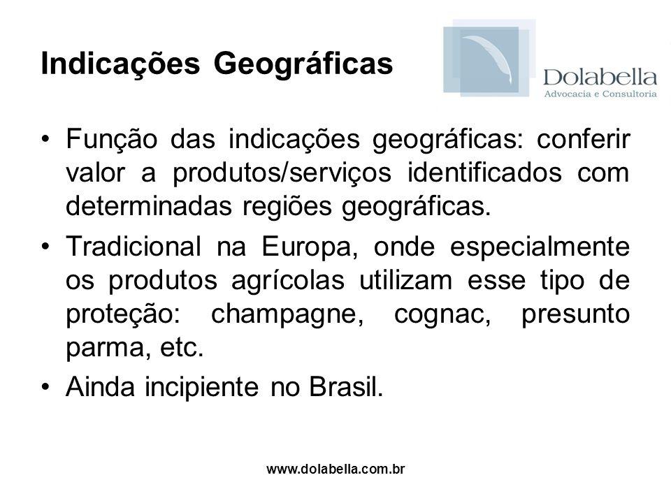 www.dolabella.com.br Indicações Geográficas Função das indicações geográficas: conferir valor a produtos/serviços identificados com determinadas regiõ