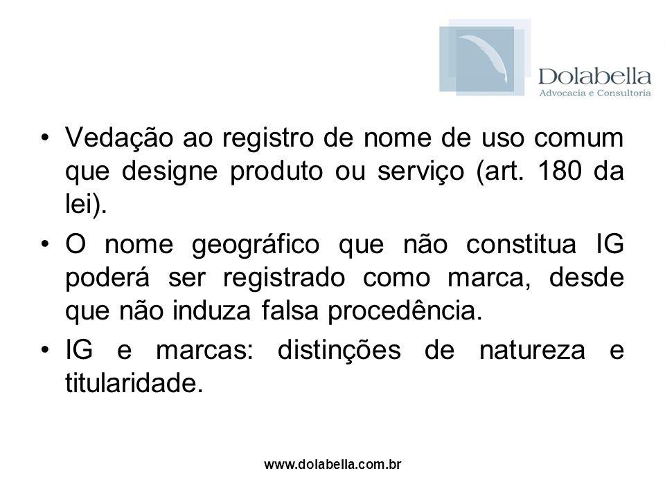 www.dolabella.com.br Vedação ao registro de nome de uso comum que designe produto ou serviço (art. 180 da lei). O nome geográfico que não constitua IG