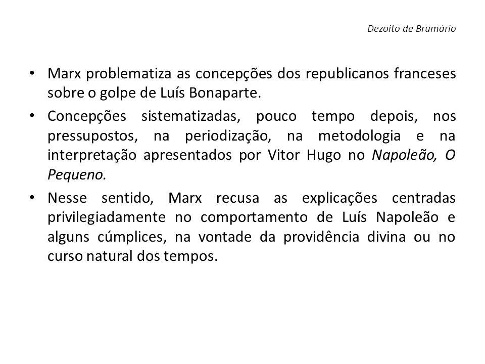 Marx problematiza as concepções dos republicanos franceses sobre o golpe de Luís Bonaparte. Concepções sistematizadas, pouco tempo depois, nos pressup