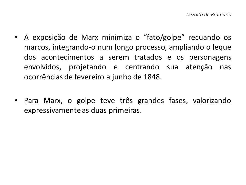 A exposição de Marx minimiza o fato/golpe recuando os marcos, integrando-o num longo processo, ampliando o leque dos acontecimentos a serem tratados e