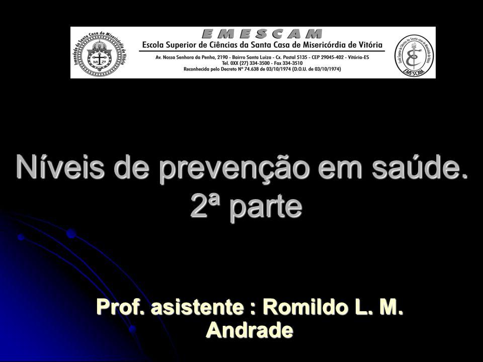 Níveis de prevenção em saúde. 2ª parte Prof. asistente : Romildo L. M. Andrade