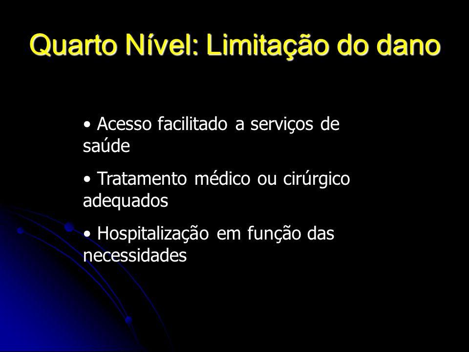 Quarto Nível: Limitação do dano Acesso facilitado a serviços de saúde Tratamento médico ou cirúrgico adequados Hospitalização em função das necessidad