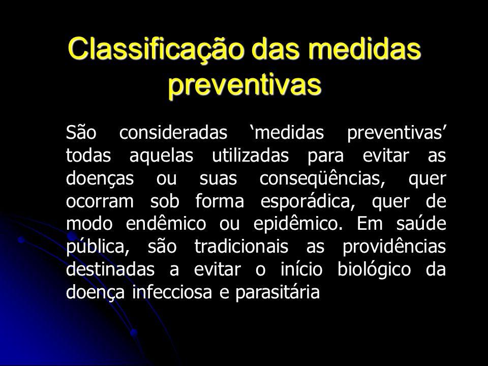 Classificação das medidas preventivas São consideradas medidas preventivas todas aquelas utilizadas para evitar as doenças ou suas conseqüências, quer
