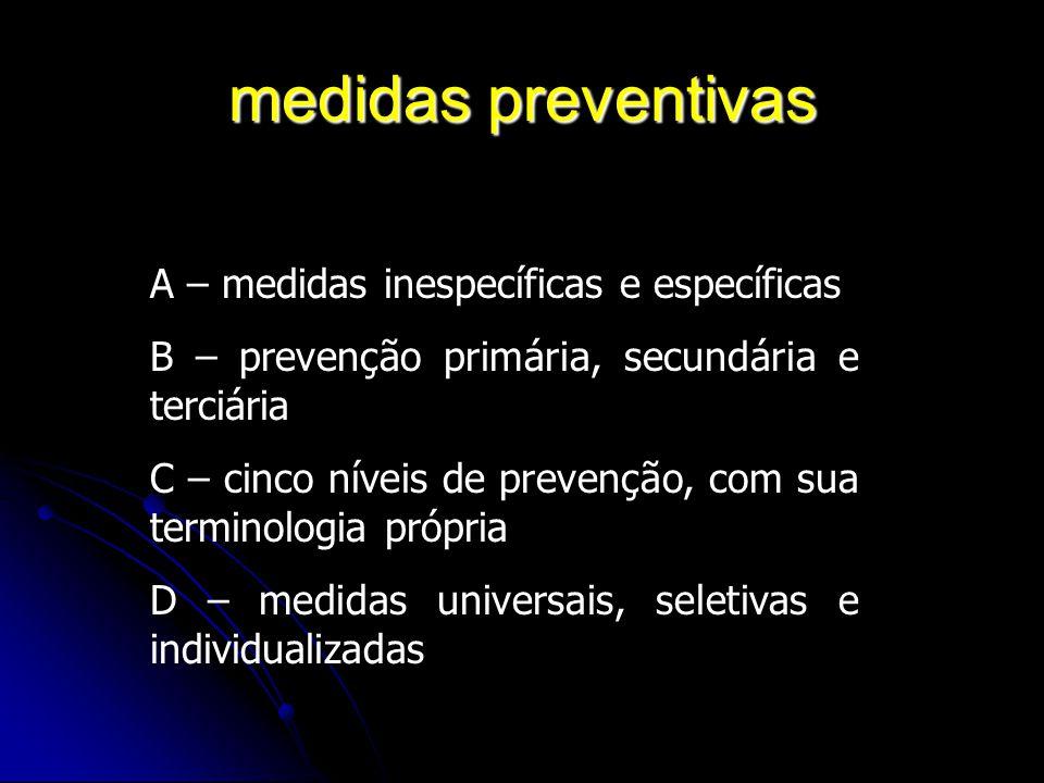 medidas preventivas A – medidas inespecíficas e específicas B – prevenção primária, secundária e terciária C – cinco níveis de prevenção, com sua term
