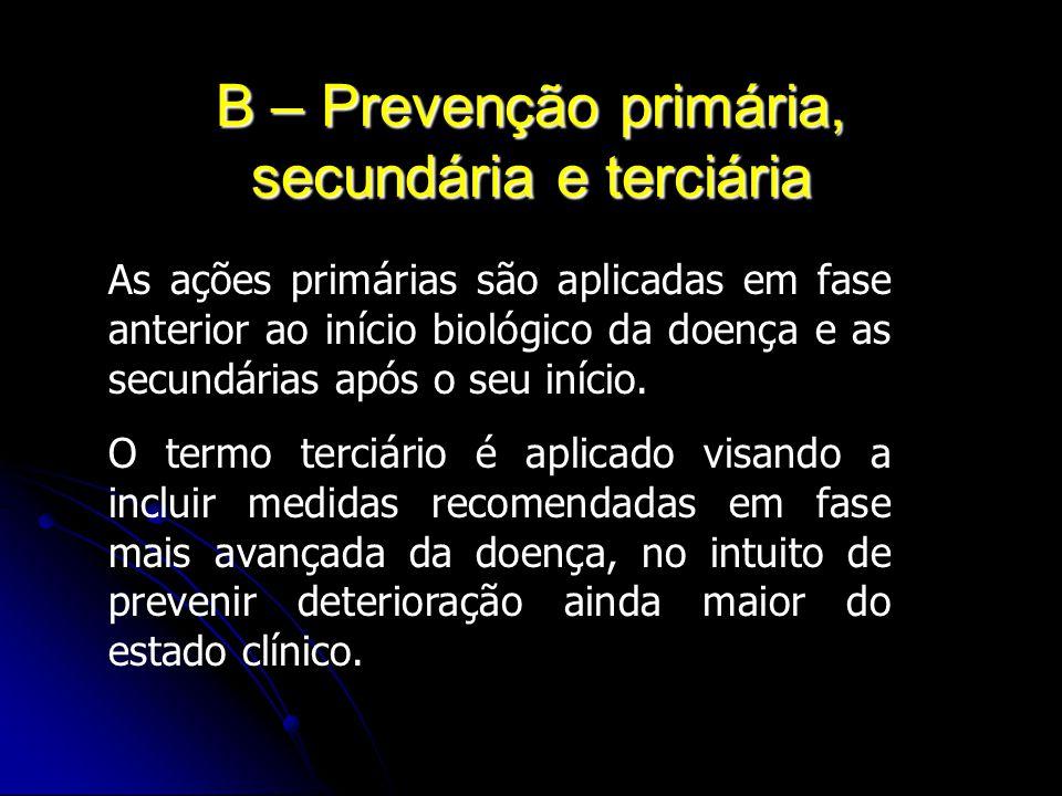 B – Prevenção primária, secundária e terciária As ações primárias são aplicadas em fase anterior ao início biológico da doença e as secundárias após o