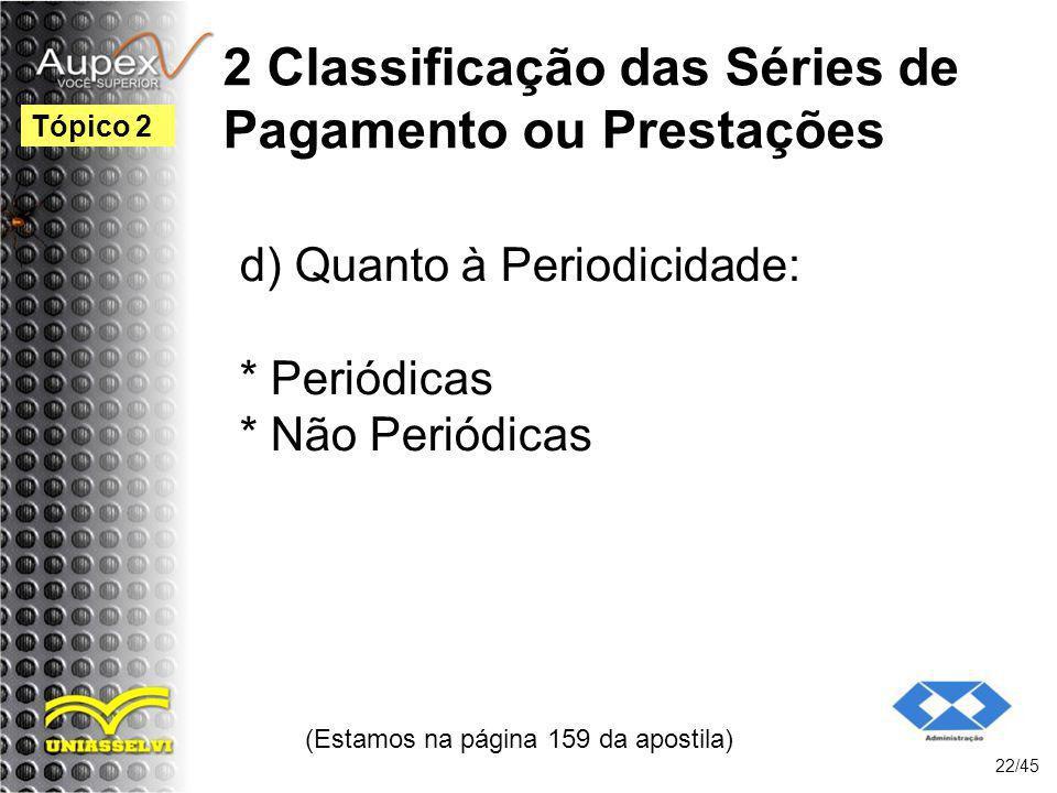 2 Classificação das Séries de Pagamento ou Prestações (Estamos na página 159 da apostila) 22/45 Tópico 2 d) Quanto à Periodicidade: * Periódicas * Não
