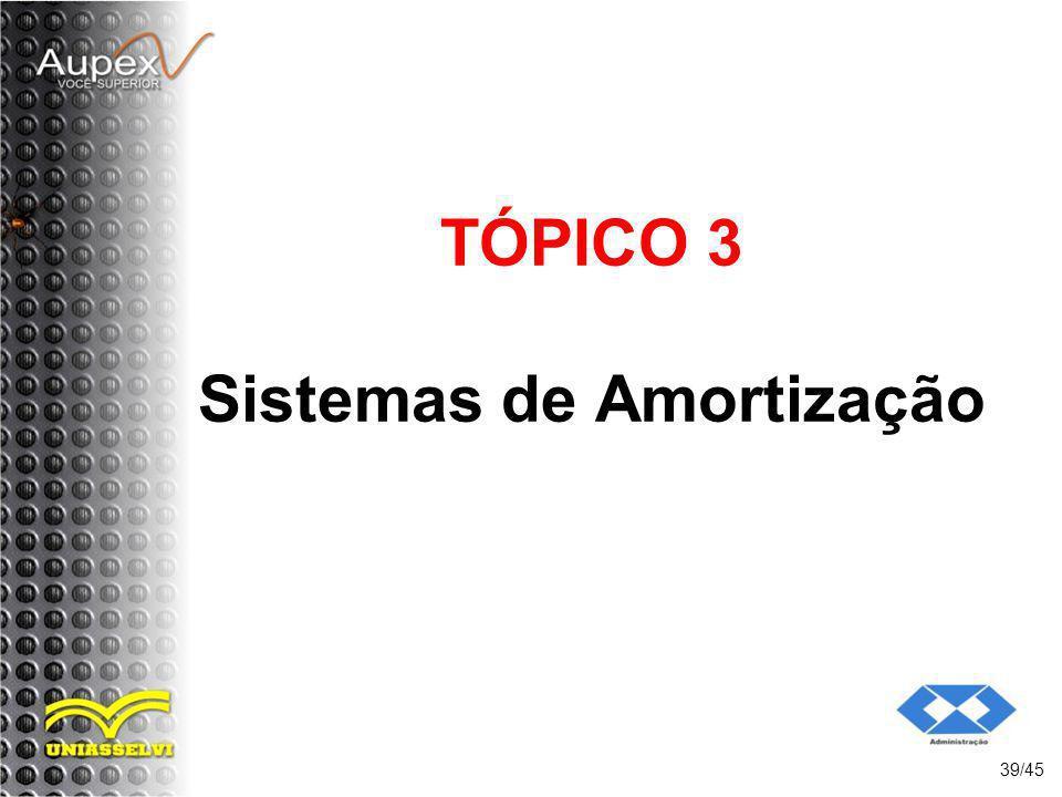 TÓPICO 3 Sistemas de Amortização 39/45