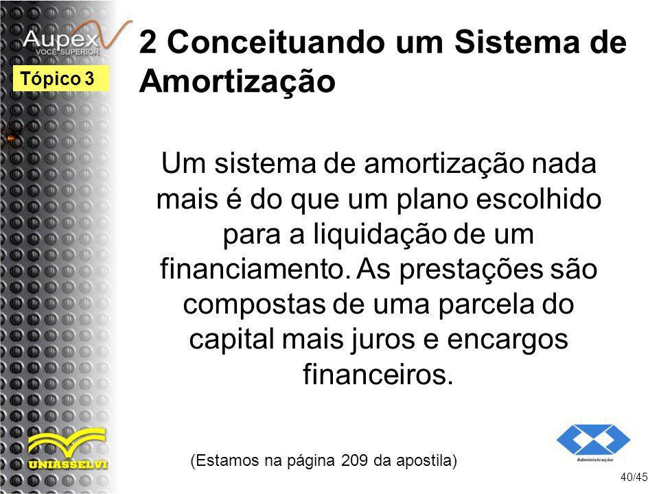 (Estamos na página 209 da apostila) 40/45 Tópico 3 Um sistema de amortização nada mais é do que um plano escolhido para a liquidação de um financiamen