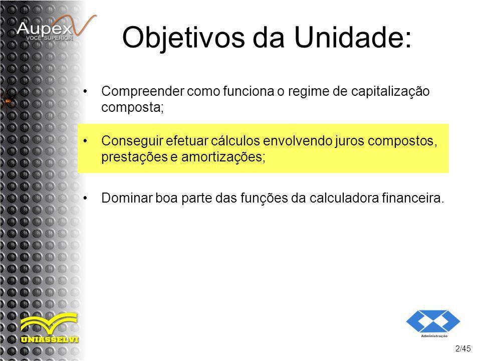 Objetivos da Unidade: Compreender como funciona o regime de capitalização composta; 2/45 Conseguir efetuar cálculos envolvendo juros compostos, presta