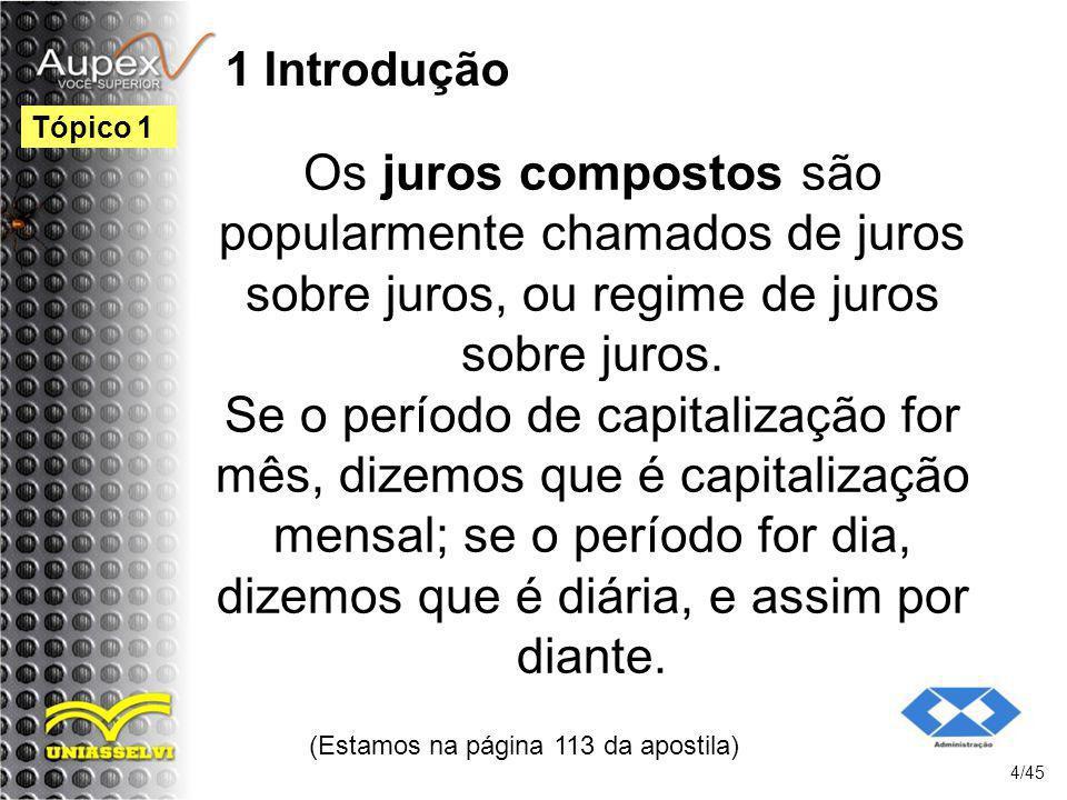 1 Introdução Os juros compostos são popularmente chamados de juros sobre juros, ou regime de juros sobre juros. Se o período de capitalização for mês,