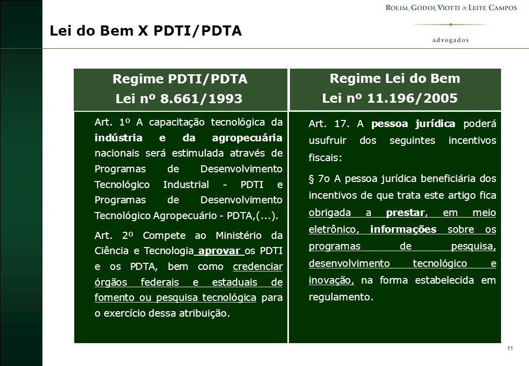 12 Lei do Bem X PDTI/PDTA Art.5º A concessão do benefício fiscal (...) far-se-á mediante portaria do Ministro de Estado da Ciência e Tecnologia.