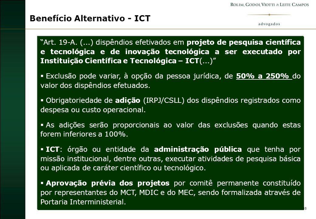 16 Benefício Alternativo - ICT Art.19-A.