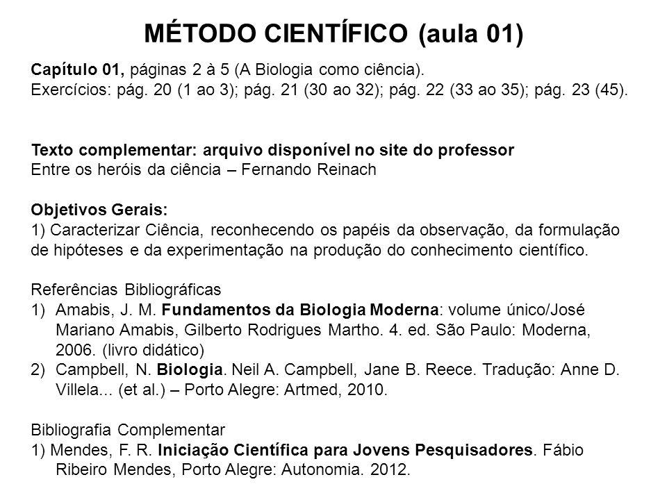 MÉTODO CIENTÍFICO (aula 01) Capítulo 01, páginas 2 à 5 (A Biologia como ciência). Exercícios: pág. 20 (1 ao 3); pág. 21 (30 ao 32); pág. 22 (33 ao 35)