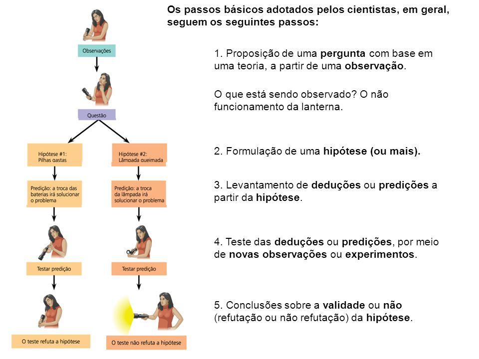 Os passos básicos adotados pelos cientistas, em geral, seguem os seguintes passos: 1. Proposição de uma pergunta com base em uma teoria, a partir de u
