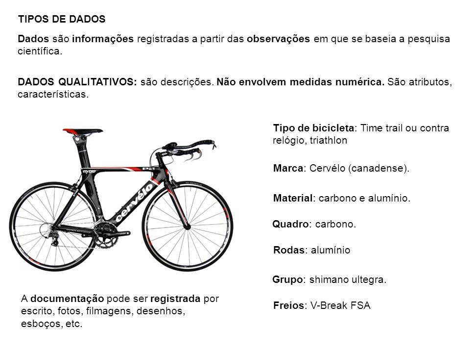 TIPOS DE DADOS Dados são informações registradas a partir das observações em que se baseia a pesquisa científica. Tipo de bicicleta: Time trail ou con
