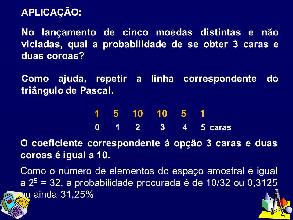 APLICAÇÃO: No lançamento de cinco moedas distintas e não viciadas, qual a probabilidade de se obter 3 caras e duas coroas? O coeficiente correspondent