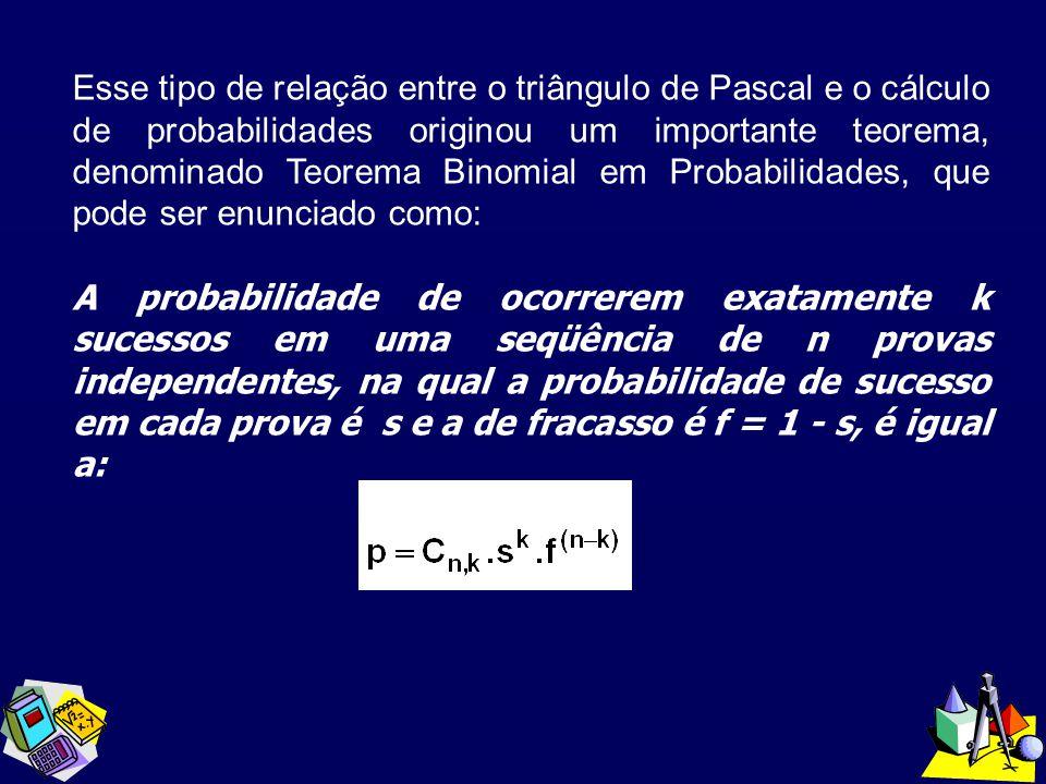 Esse tipo de relação entre o triângulo de Pascal e o cálculo de probabilidades originou um importante teorema, denominado Teorema Binomial em Probabil