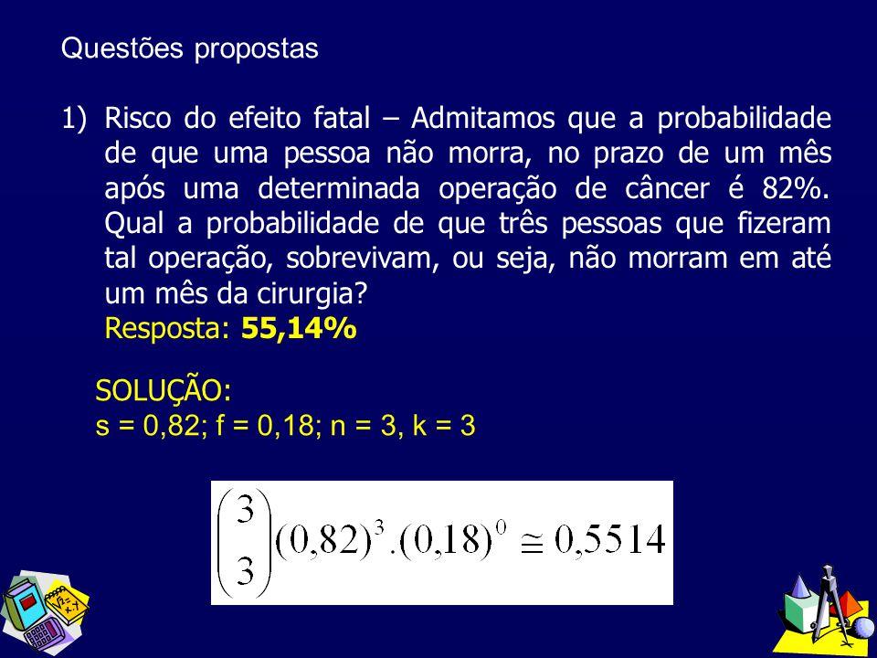 Questões propostas 1)Risco do efeito fatal – Admitamos que a probabilidade de que uma pessoa não morra, no prazo de um mês após uma determinada operaç