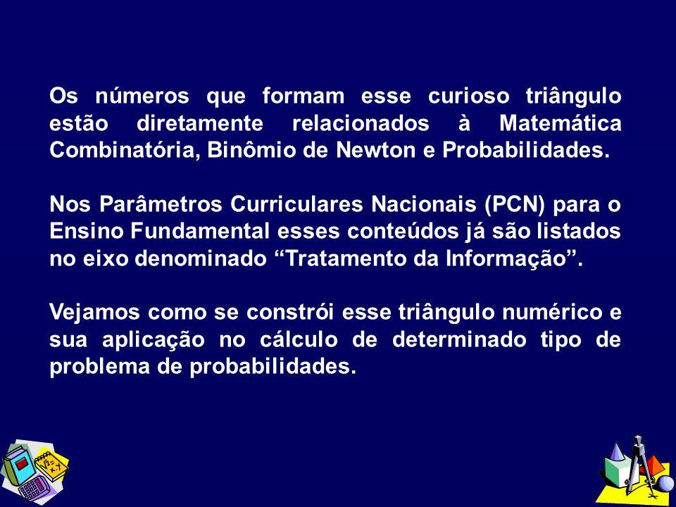 Os números que formam esse curioso triângulo estão diretamente relacionados à Matemática Combinatória, Binômio de Newton e Probabilidades. Nos Parâmet