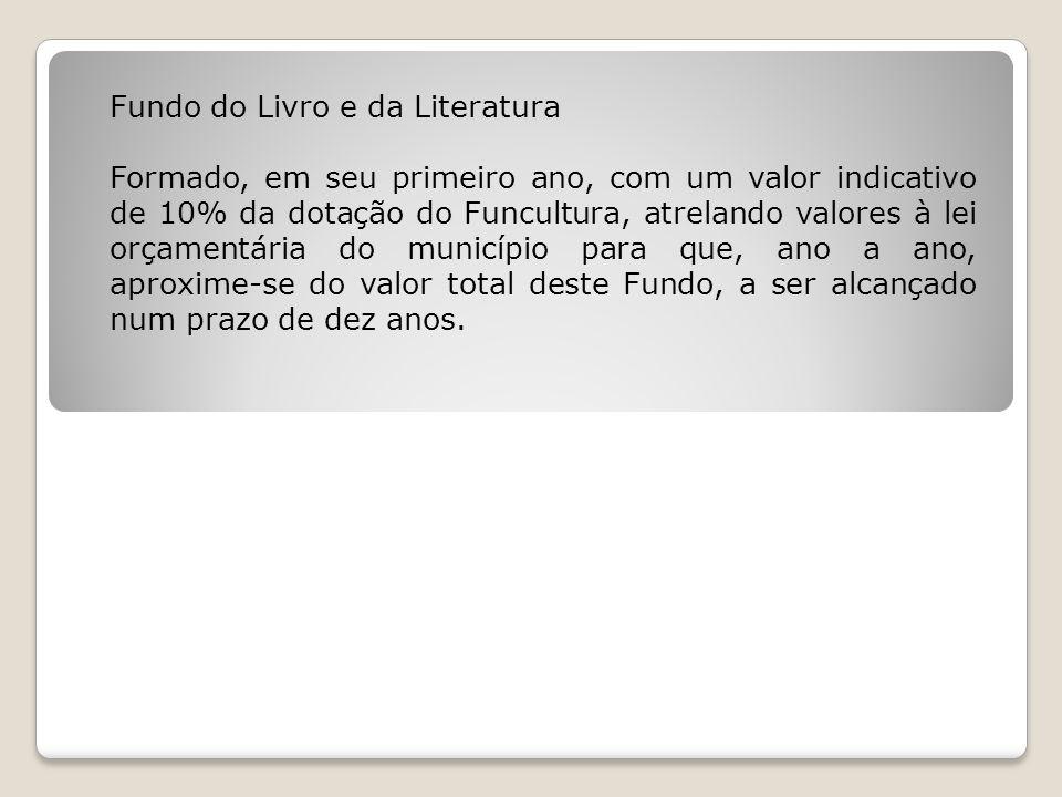 Fundo do Livro e da Literatura Formado, em seu primeiro ano, com um valor indicativo de 10% da dotação do Funcultura, atrelando valores à lei orçament