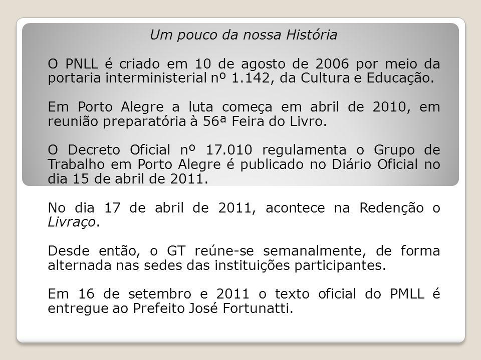 Um pouco da nossa História O PNLL é criado em 10 de agosto de 2006 por meio da portaria interministerial nº 1.142, da Cultura e Educação. Em Porto Ale