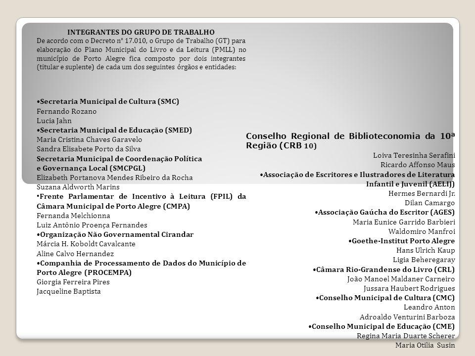 INTEGRANTES DO GRUPO DE TRABALHO De acordo com o Decreto n° 17.010, o Grupo de Trabalho (GT) para elaboração do Plano Municipal do Livro e da Leitura