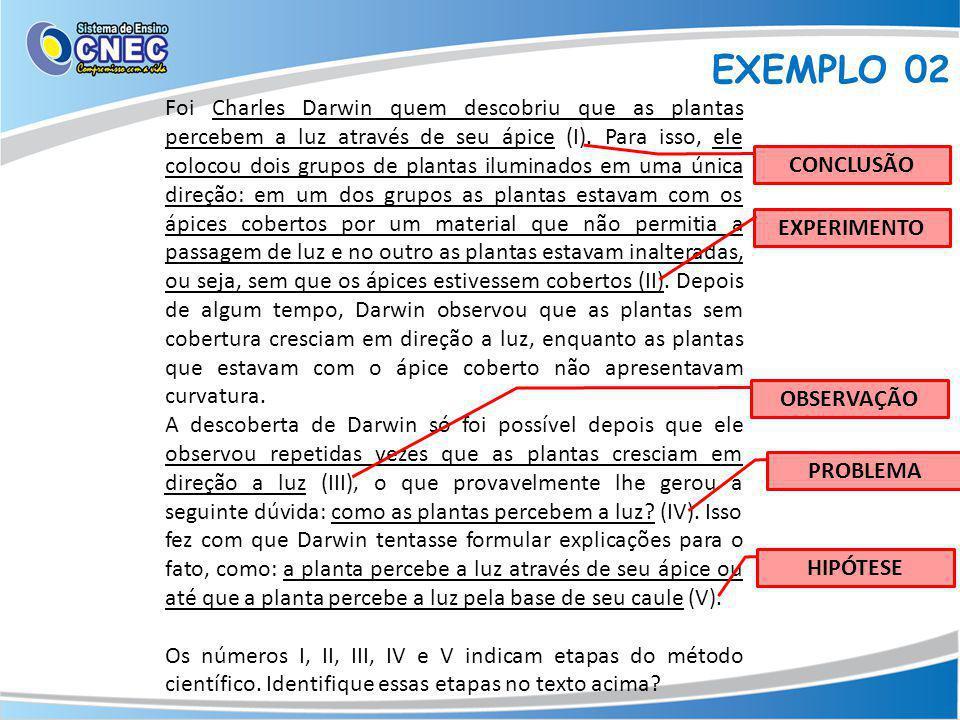 EXEMPLO 02 Foi Charles Darwin quem descobriu que as plantas percebem a luz através de seu ápice (I).