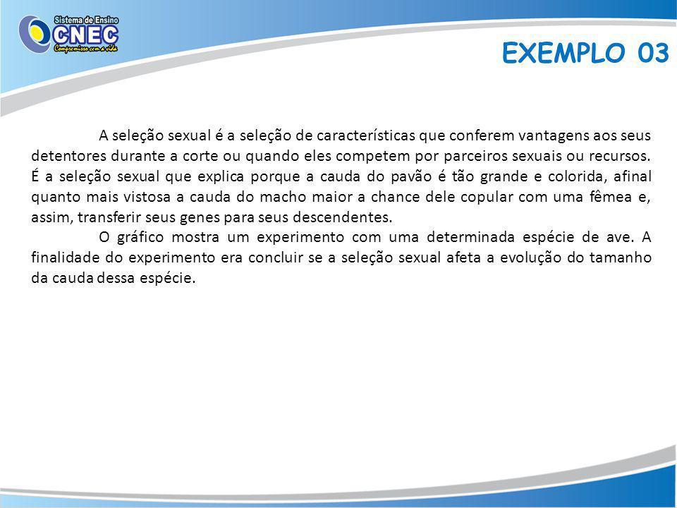 EXEMPLO 03 A seleção sexual é a seleção de características que conferem vantagens aos seus detentores durante a corte ou quando eles competem por parceiros sexuais ou recursos.