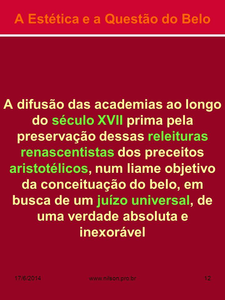 A Estética e a Questão do Belo A difusão das academias ao longo do século XVII prima pela preservação dessas releituras renascentistas dos preceitos a