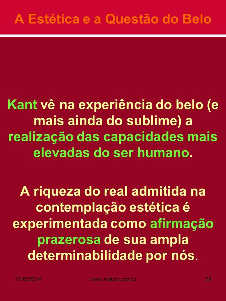 A Estética e a Questão do Belo Kant vê na experiência do belo (e mais ainda do sublime) a realização das capacidades mais elevadas do ser humano. A ri