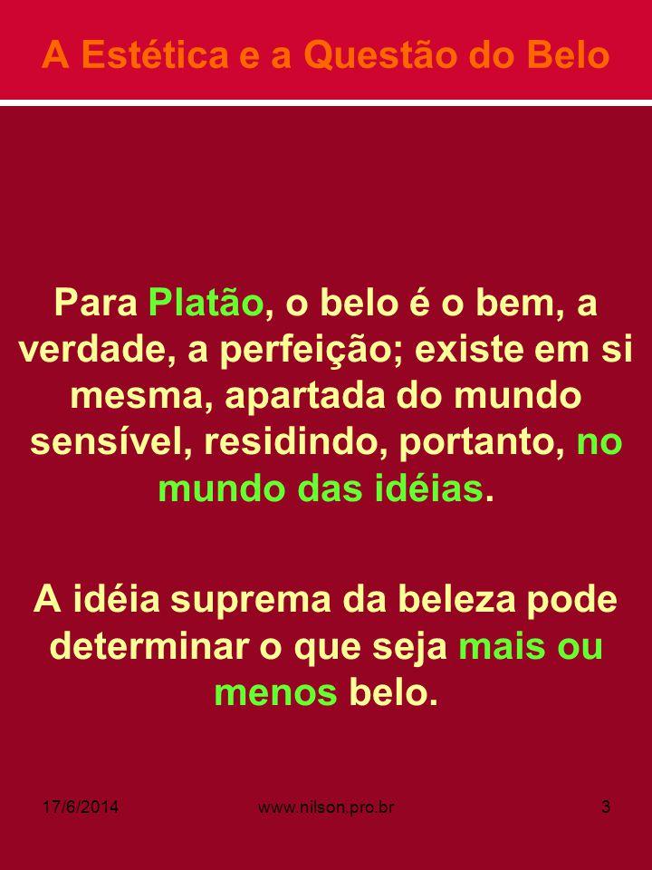 A Estética e a Questão do Belo Para Platão, o belo é o bem, a verdade, a perfeição; existe em si mesma, apartada do mundo sensível, residindo, portant