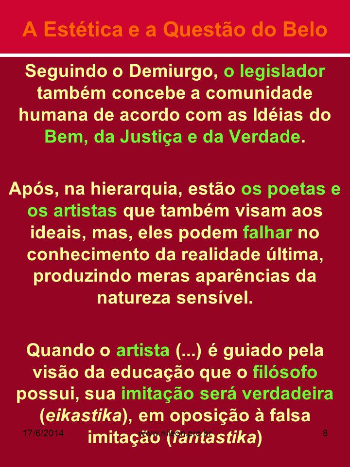 A Estética e a Questão do Belo Seguindo o Demiurgo, o legislador também concebe a comunidade humana de acordo com as Idéias do Bem, da Justiça e da Ve
