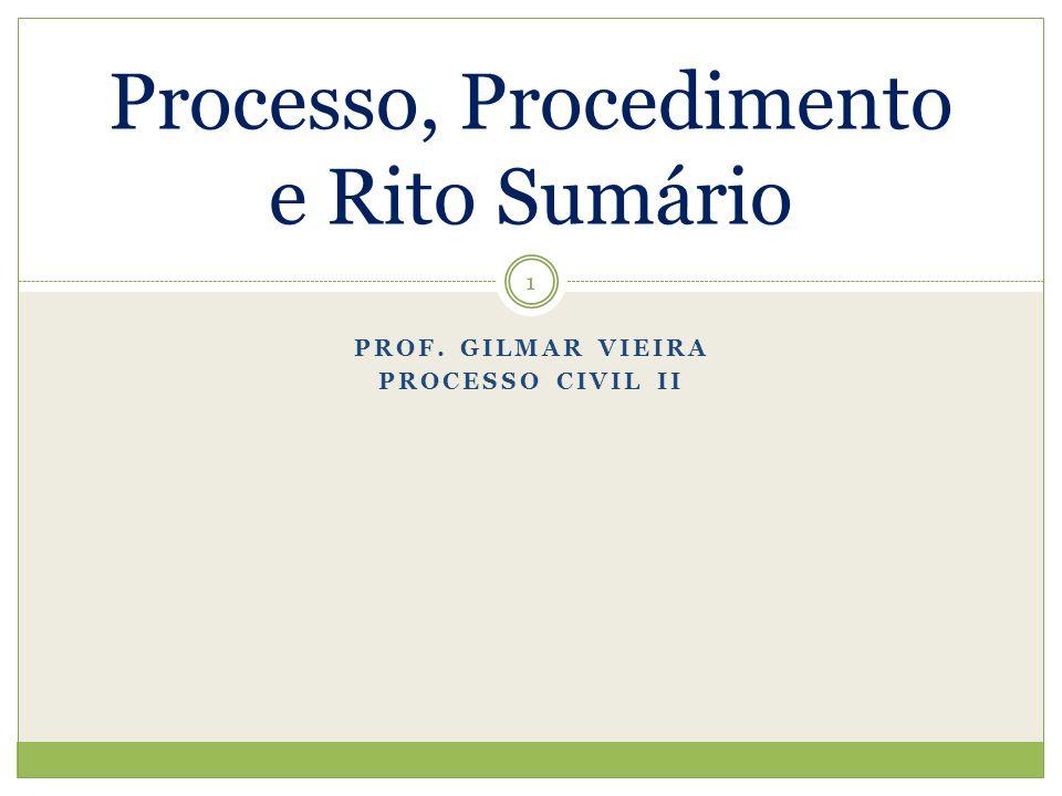 PROF. GILMAR VIEIRA PROCESSO CIVIL II Processo, Procedimento e Rito Sumário 1