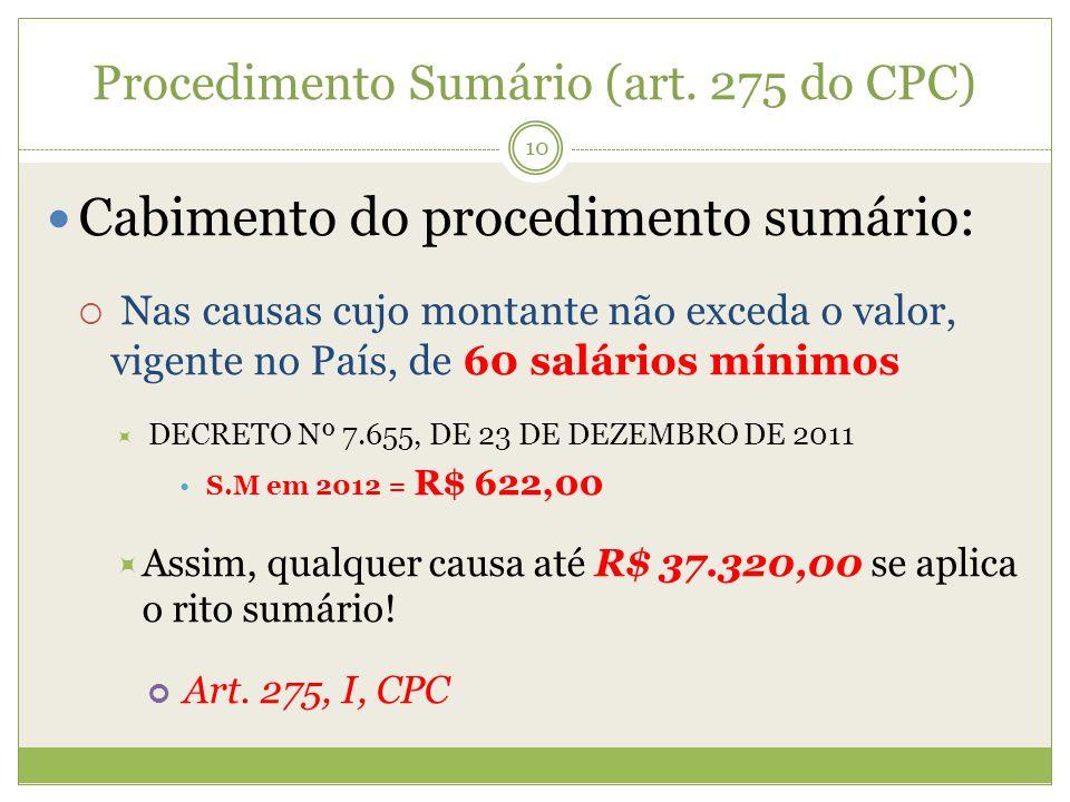 Procedimento Sumário (art. 275 do CPC) Cabimento do procedimento sumário: Nas causas cujo montante não exceda o valor, vigente no País, de 60 salários