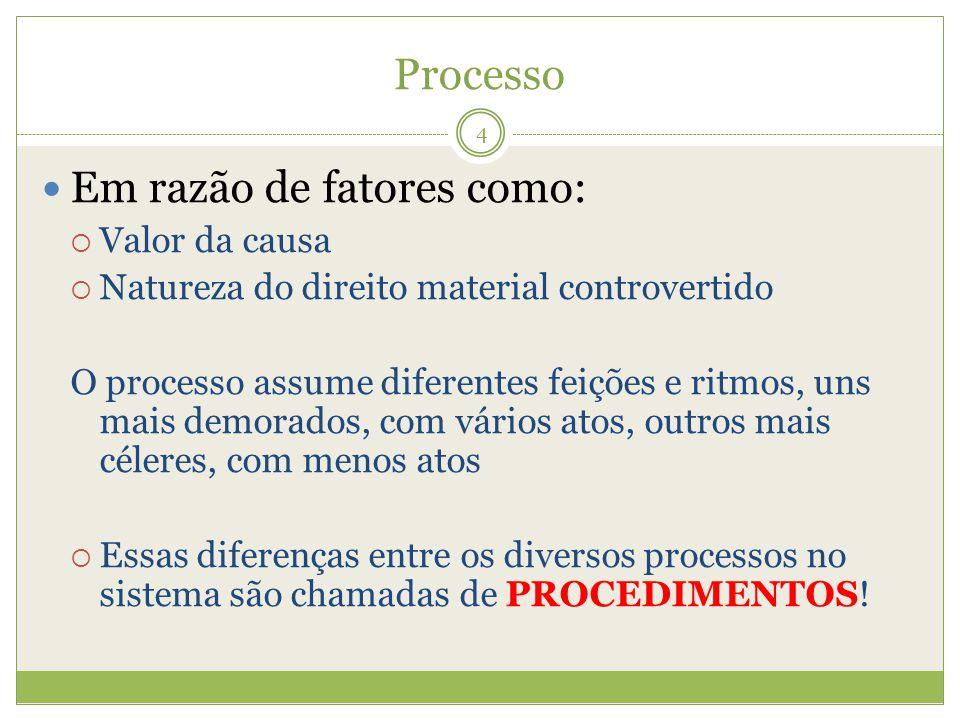 Processo Em razão de fatores como: Valor da causa Natureza do direito material controvertido O processo assume diferentes feições e ritmos, uns mais d