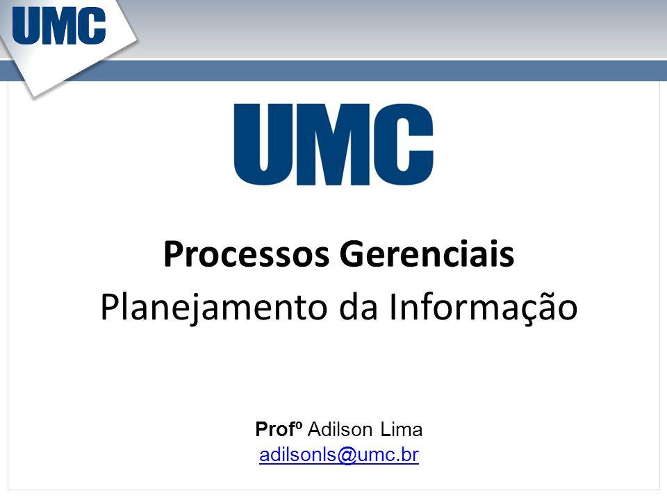 Processos Gerenciais Profº Adilson Lima adilsonls@umc.br Planejamento da Informação