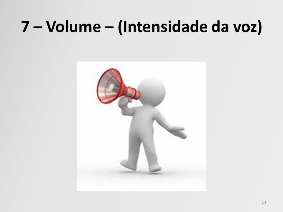 7 – Volume – (Intensidade da voz) 14