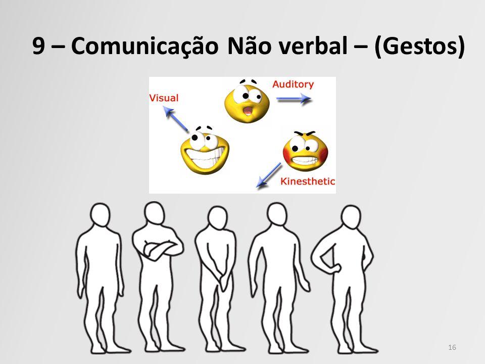 9 – Comunicação Não verbal – (Gestos) 16
