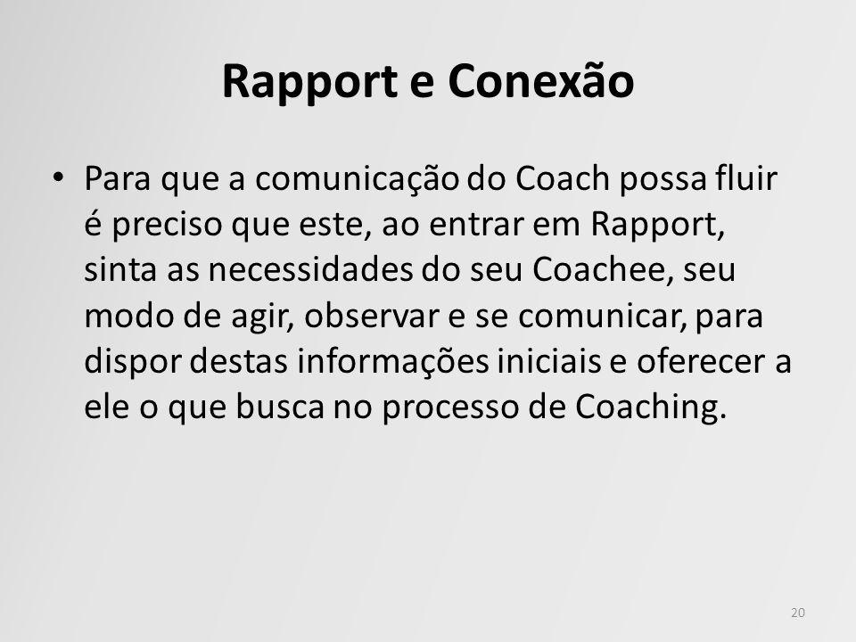 Rapport e Conexão Para que a comunicação do Coach possa fluir é preciso que este, ao entrar em Rapport, sinta as necessidades do seu Coachee, seu modo