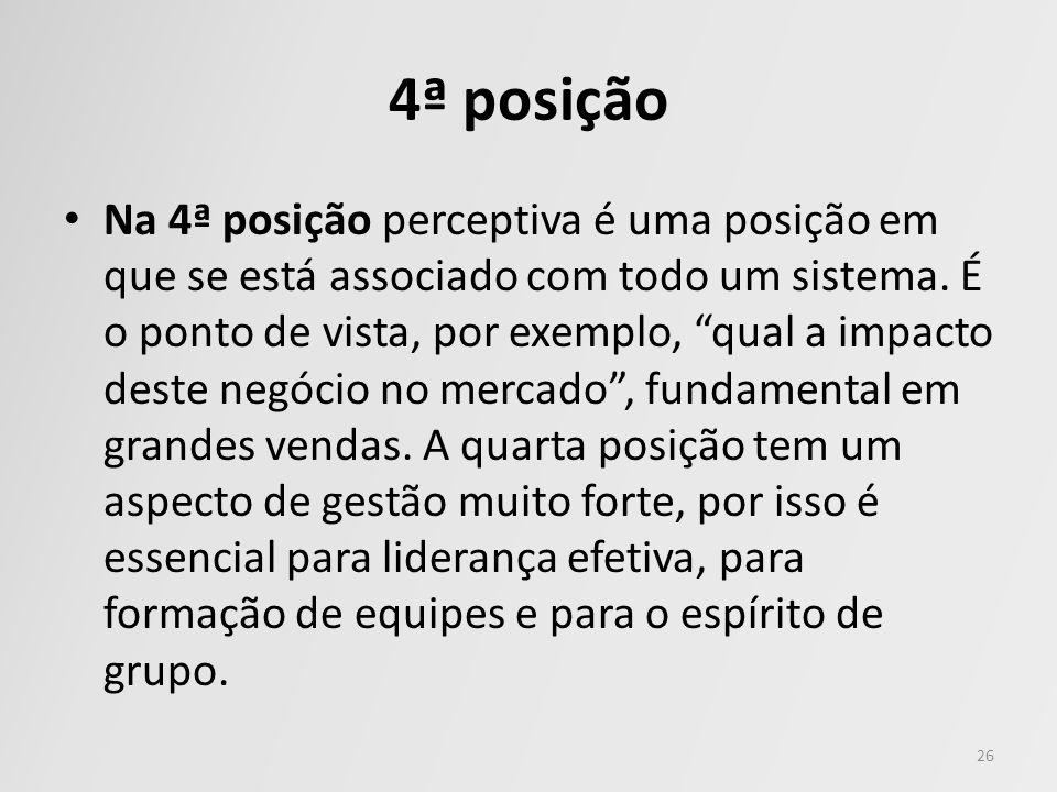 4ª posição Na 4ª posição perceptiva é uma posição em que se está associado com todo um sistema. É o ponto de vista, por exemplo, qual a impacto deste