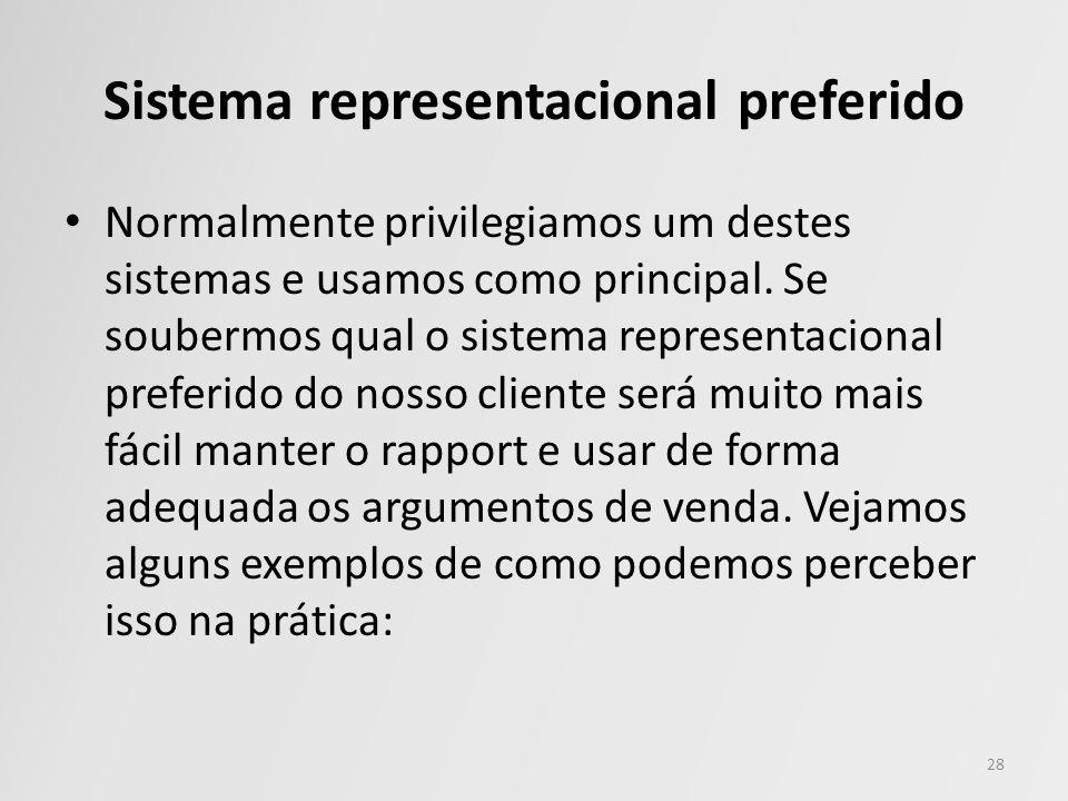 Sistema representacional preferido Normalmente privilegiamos um destes sistemas e usamos como principal. Se soubermos qual o sistema representacional