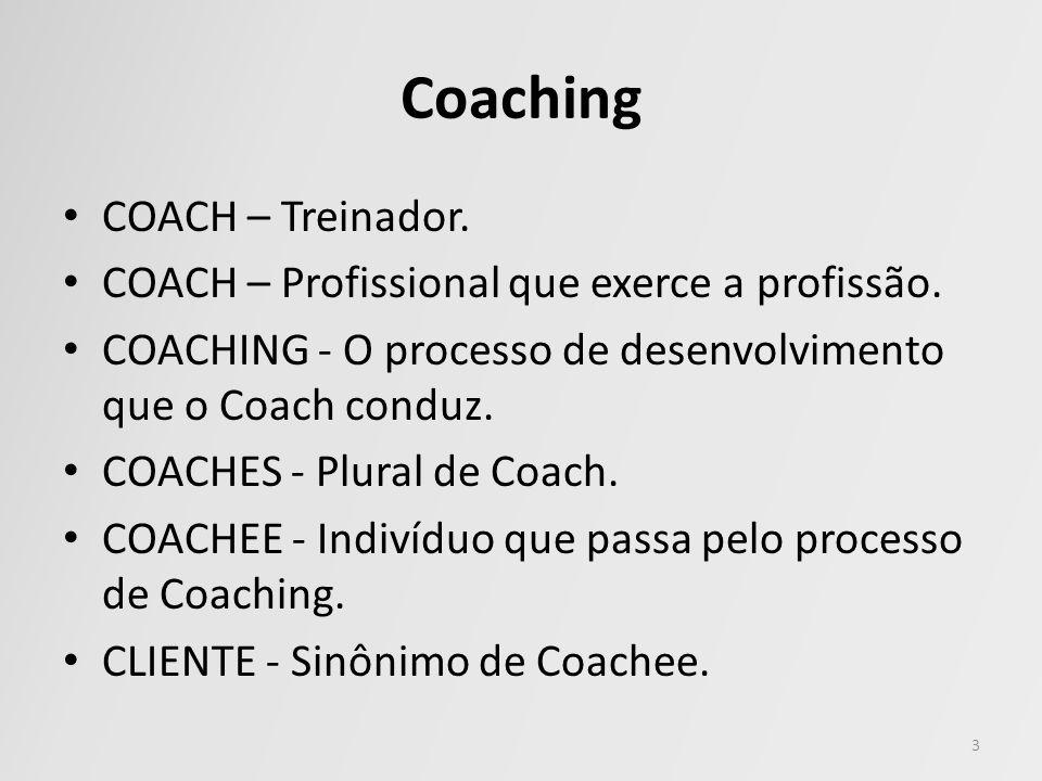 COACH – Treinador. COACH – Profissional que exerce a profissão. COACHING - O processo de desenvolvimento que o Coach conduz. COACHES - Plural de Coach