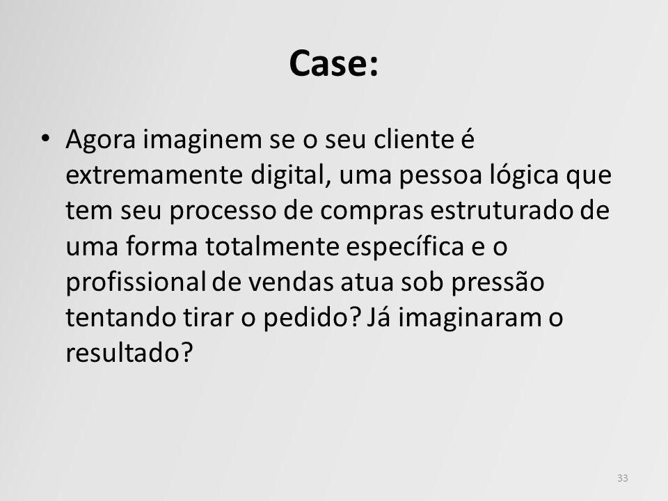 Case: Agora imaginem se o seu cliente é extremamente digital, uma pessoa lógica que tem seu processo de compras estruturado de uma forma totalmente es