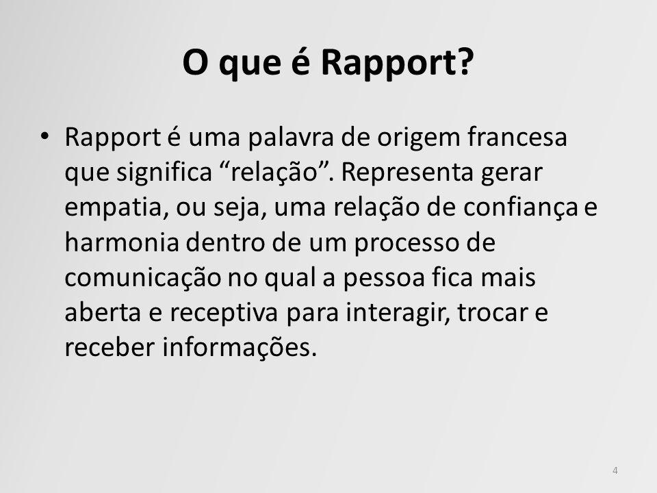 O que é Rapport? Rapport é uma palavra de origem francesa que significa relação. Representa gerar empatia, ou seja, uma relação de confiança e harmoni