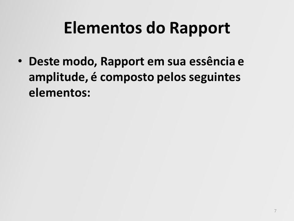 Elementos do Rapport Deste modo, Rapport em sua essência e amplitude, é composto pelos seguintes elementos: 7