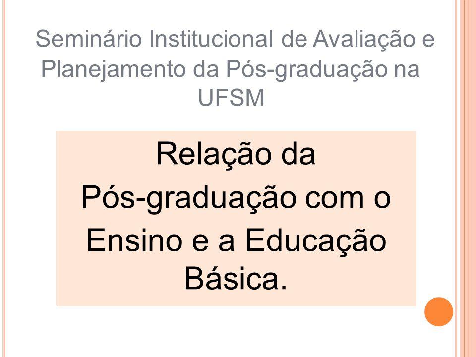Seminário Institucional de Avaliação e Planejamento da Pós-graduação na UFSM Relação da Pós-graduação com o Ensino e a Educação Básica.