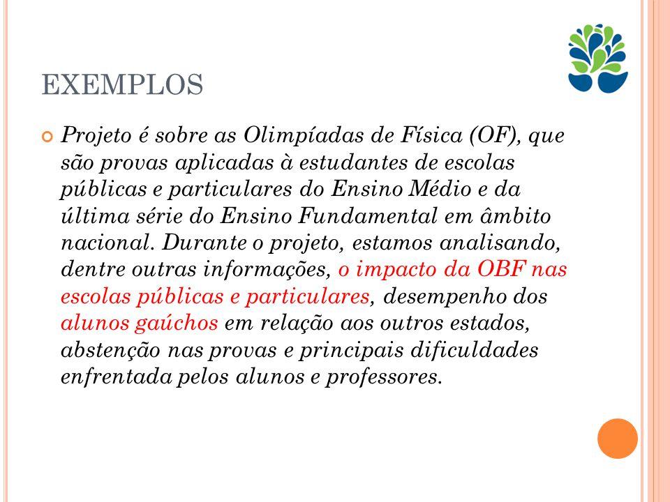 EXEMPLOS Projeto é sobre as Olimpíadas de Física (OF), que são provas aplicadas à estudantes de escolas públicas e particulares do Ensino Médio e da última série do Ensino Fundamental em âmbito nacional.